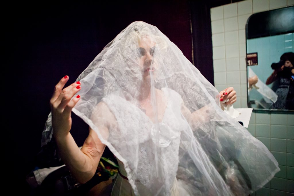 Burlesque photos of performer Faux Pas by NYC photojournalist, Kelly Williams
