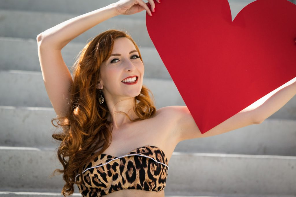 A Valentine's Day pin up photography shoot in Ybor City by NYC pin up photographer, Kelly Williams