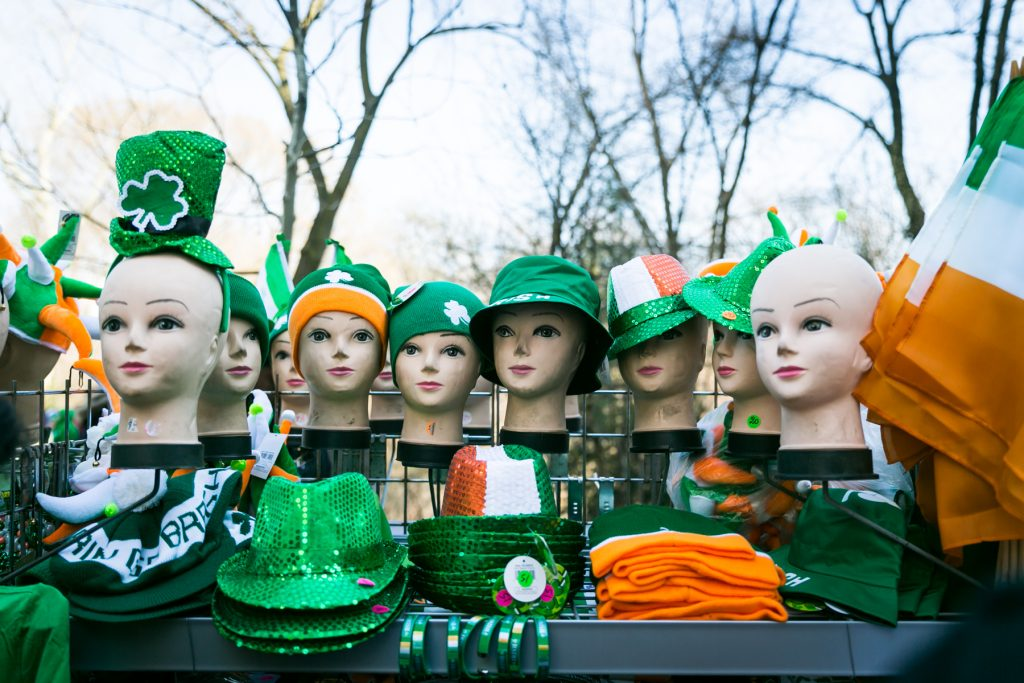 Hats for sale at the 2016 St. Patrick's Day Parade in NYC by photojournalist, Kelly Williams