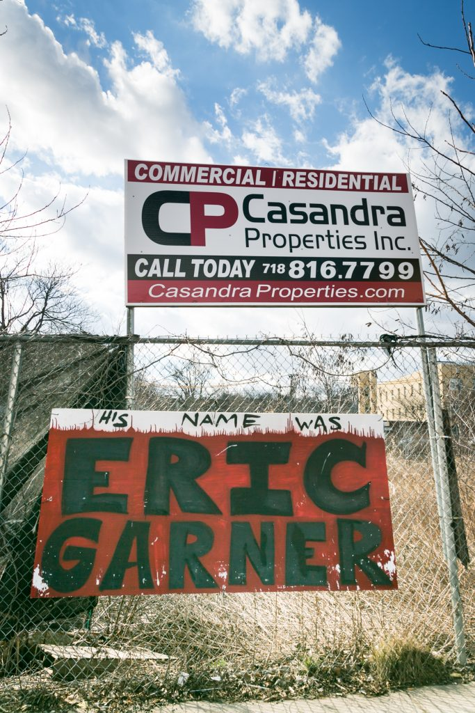 Abandoned Staten Island lot with Eric Garner sign, by NYC photographer, Kelly Williams