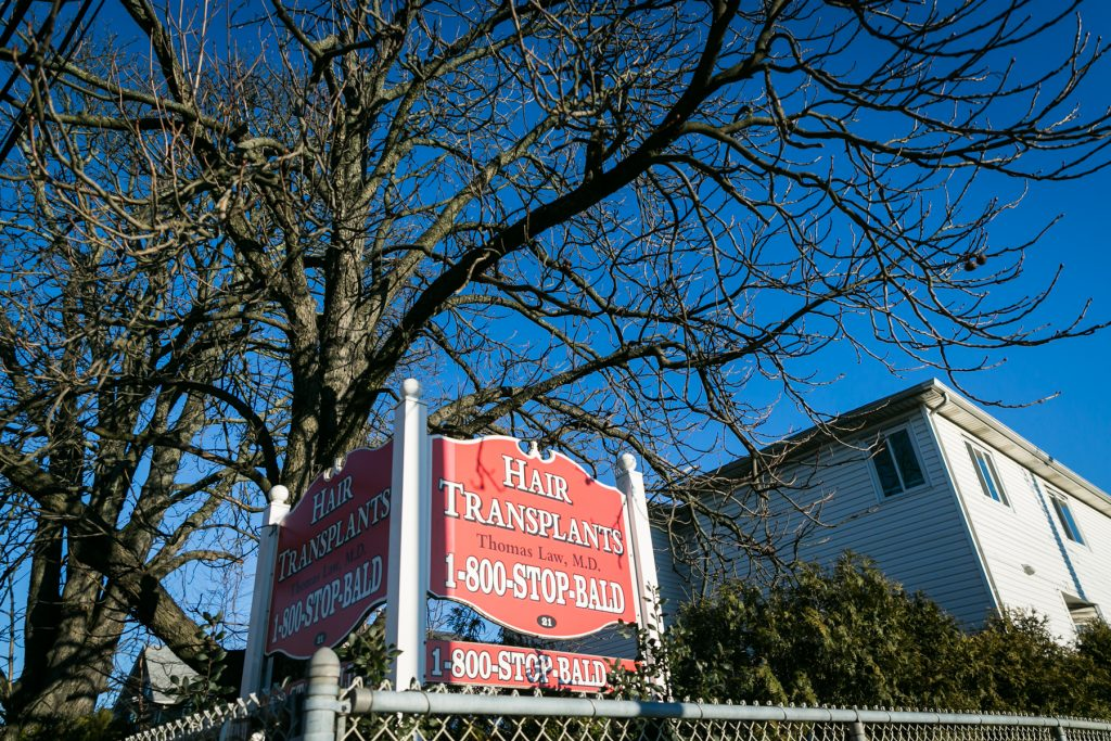 Hair transplant sign in Staten Island, by NYC photographer, Kelly Williams