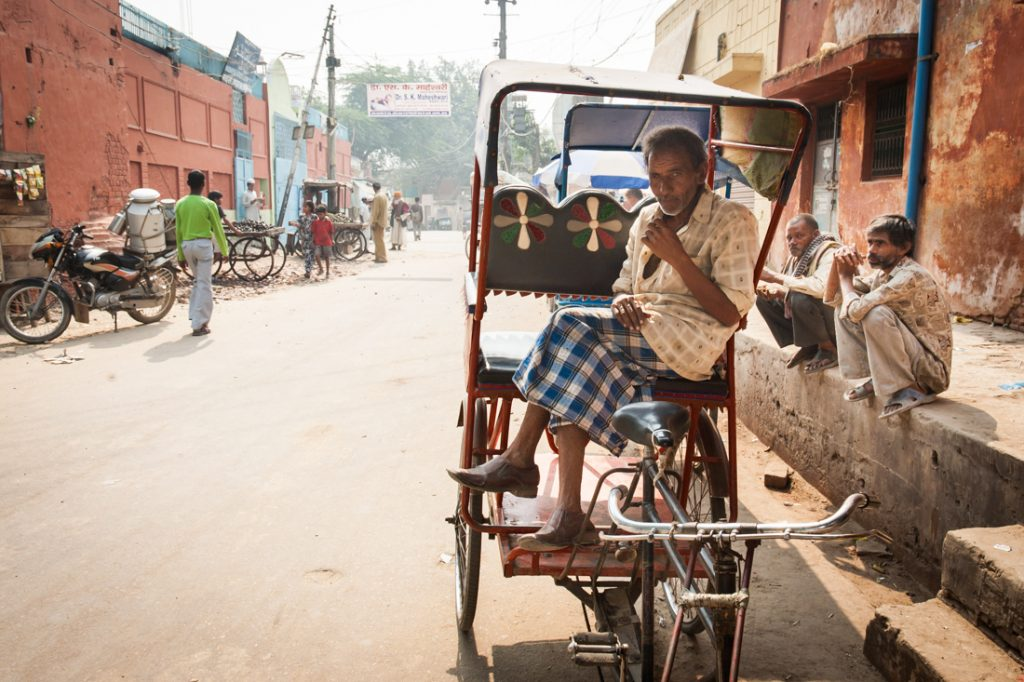 Man in bicycle cart in Agra, India