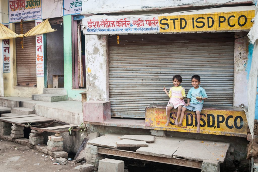 Children on the street in Agra, India