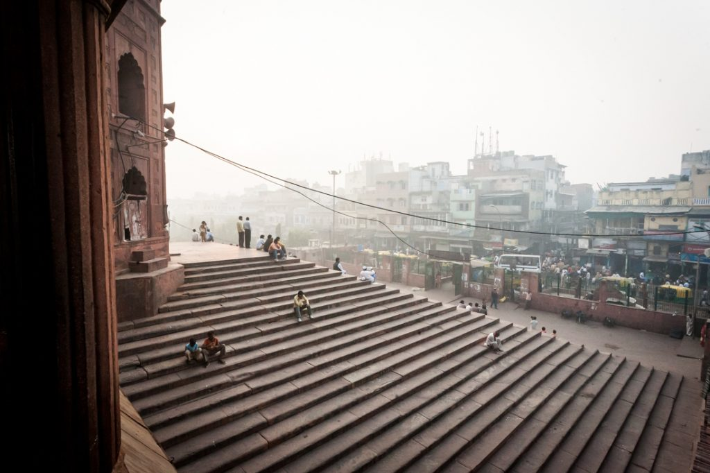 Building steps in Delhi, India