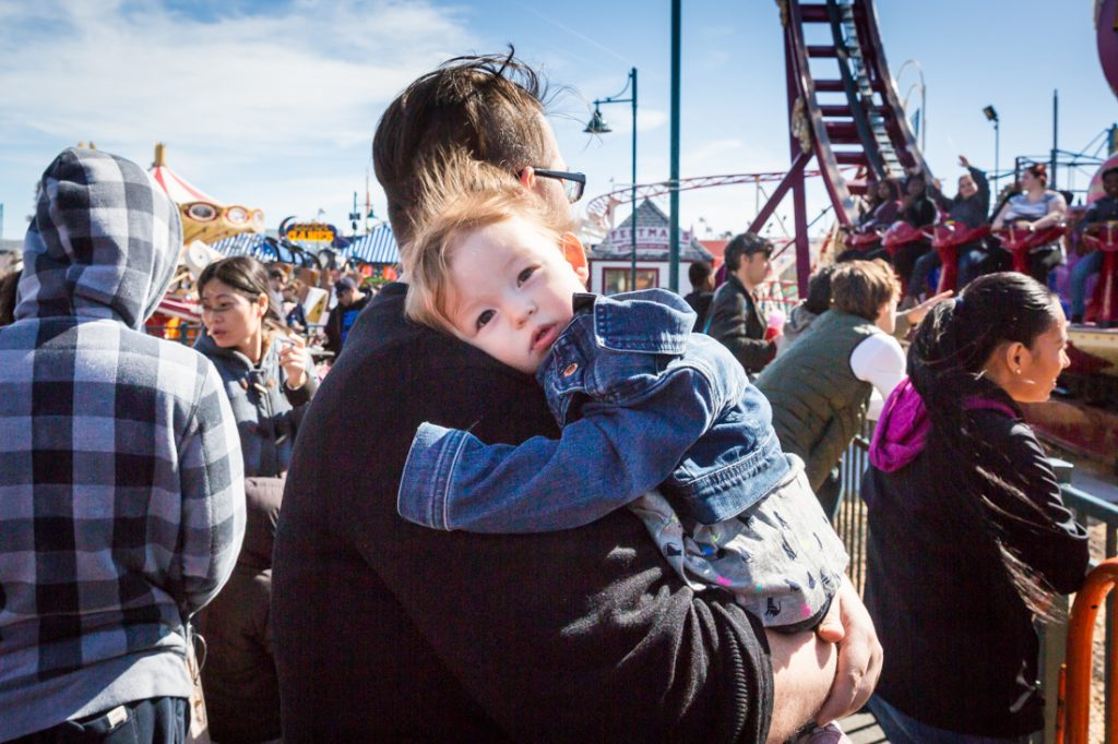 Parent and child on Coney Island opening day 2017