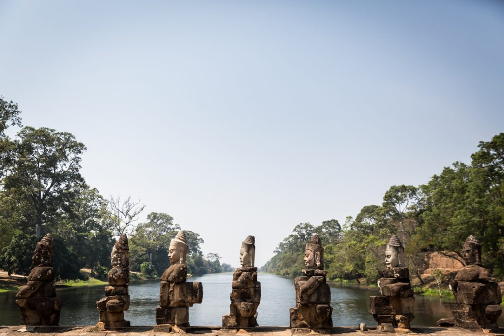 Line of statues at Preah Khan Temple for an article on Angkor Wat travel tips