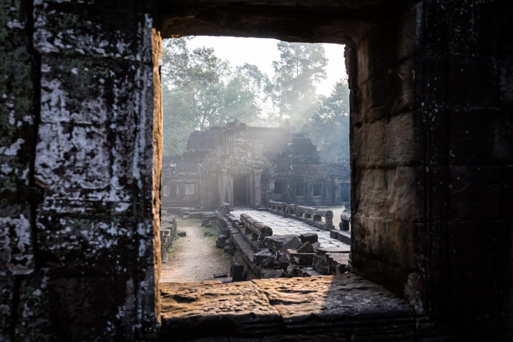 Window at Banteay Kdei Temple for an article on Angkor Wat travel tips