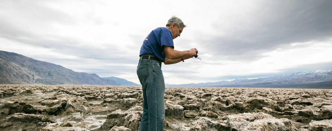 Tourist at Badwater for an article on Death Valley travel tips