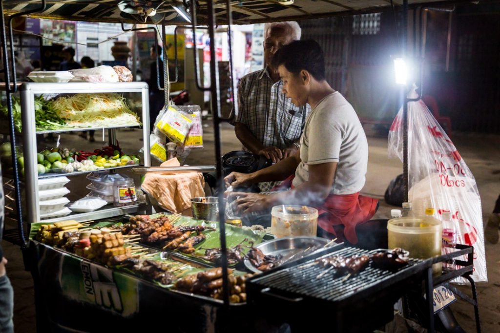 Street food on Pub Street for an article on Siem Reap travel tips