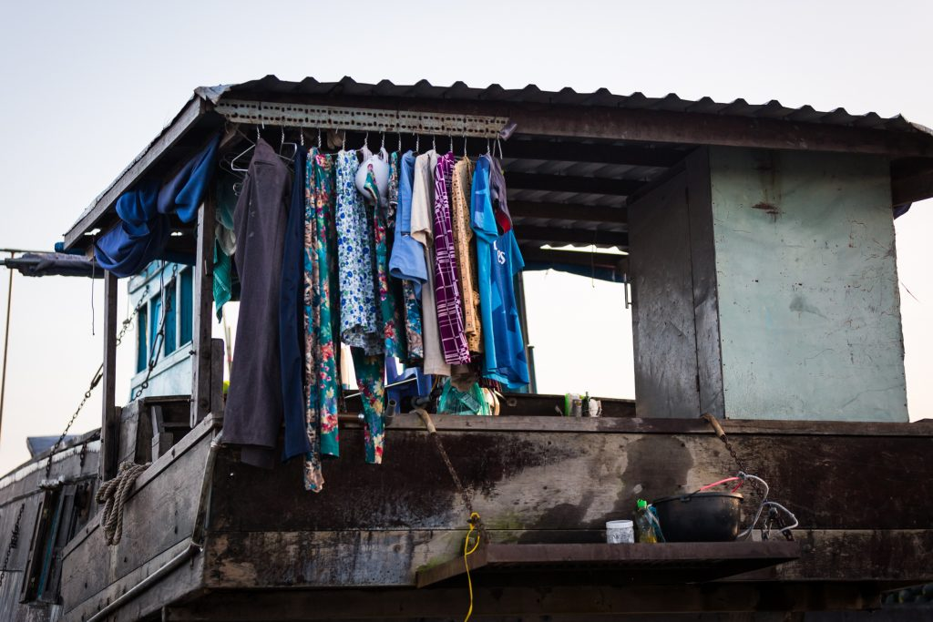 Clothes hanging on a boat at the Cai Rang Floating Markets