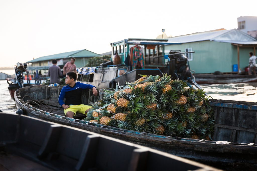 Pineapples for sale at the Cai Rang Floating Markets