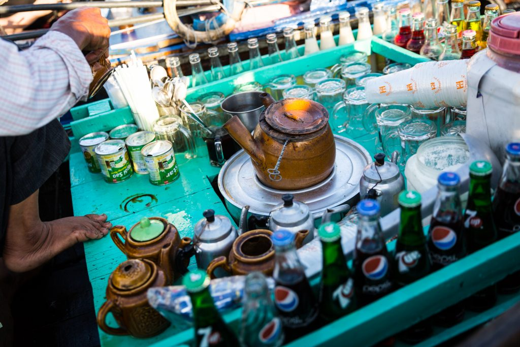 Coffee pot and cups at the Cai Rang Floating Markets