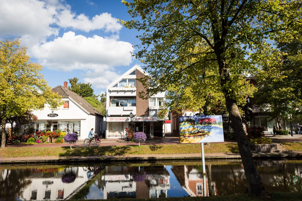 Gallery on a canal in Papenburg, Germany
