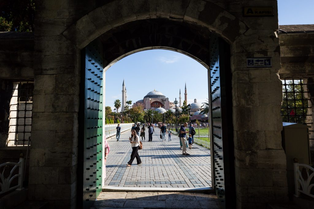 Courtyard looking at the Hagia Sophia for an article on Istanbul street photos