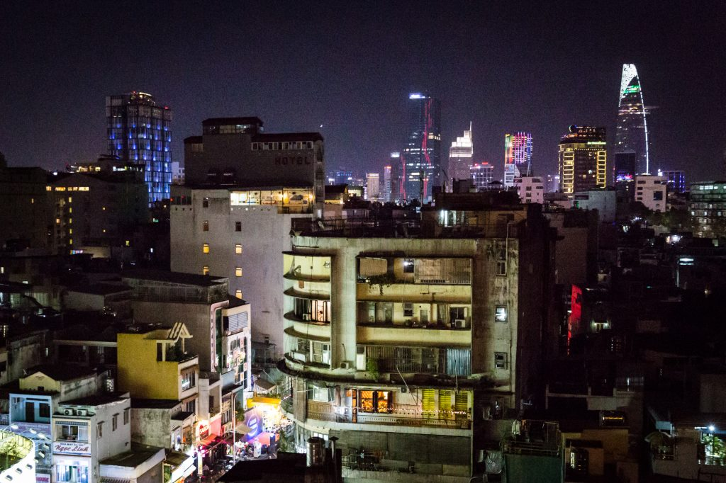 Sunset from The View rooftop bar for article on Ho Chi Minh City street photos