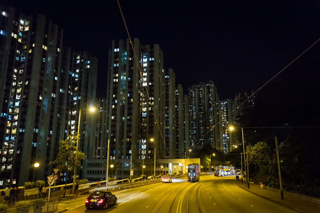 The ding ding road in Shau Kei Wan for a Hong Kong street photography series called the view from the ding ding