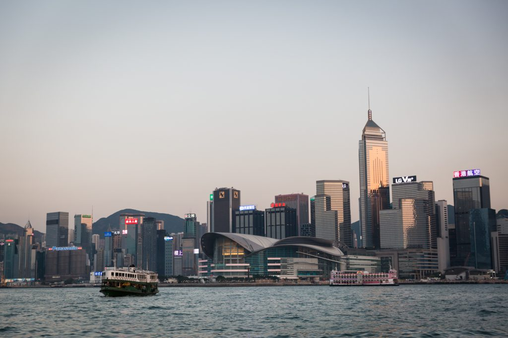 View of the Hong Kong waterfront and ferry for a Hong Kong travel guide article