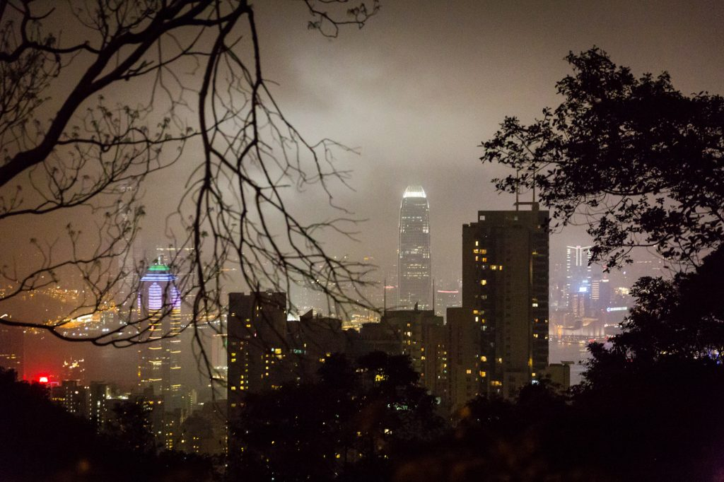 View from Victoria Peak for a Hong Kong travel guide article