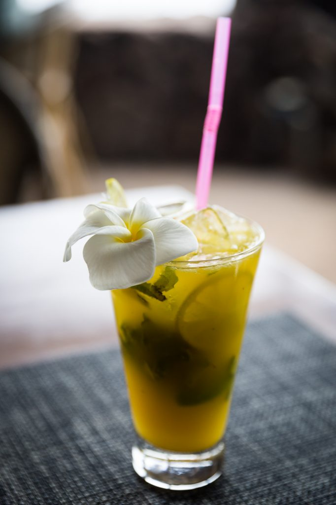 Tropical drink with flower for an Easter Island travel guide