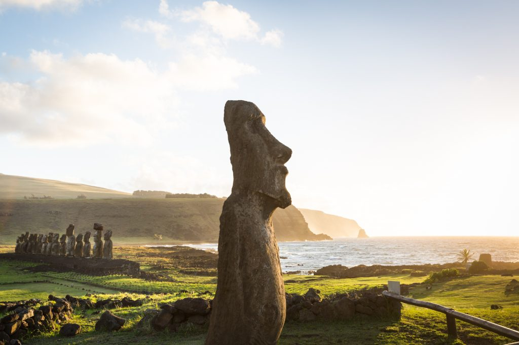 Moai statues at the Rapa Nui National Park for an Easter Island travel guide