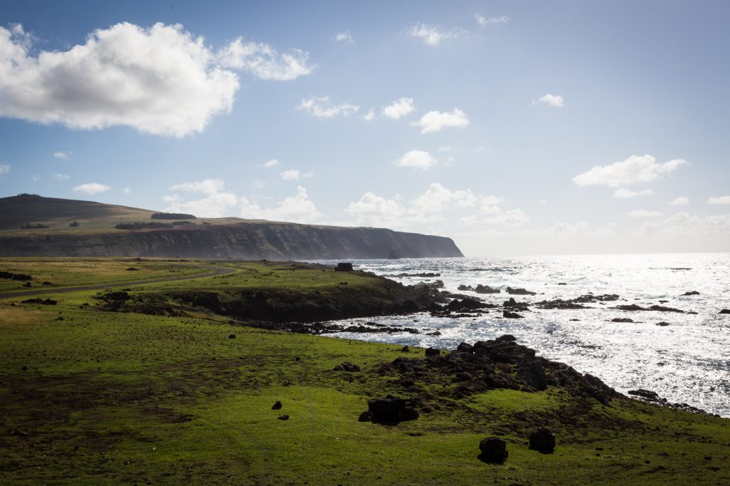 Shoreline and ocean for an Easter Island travel guide