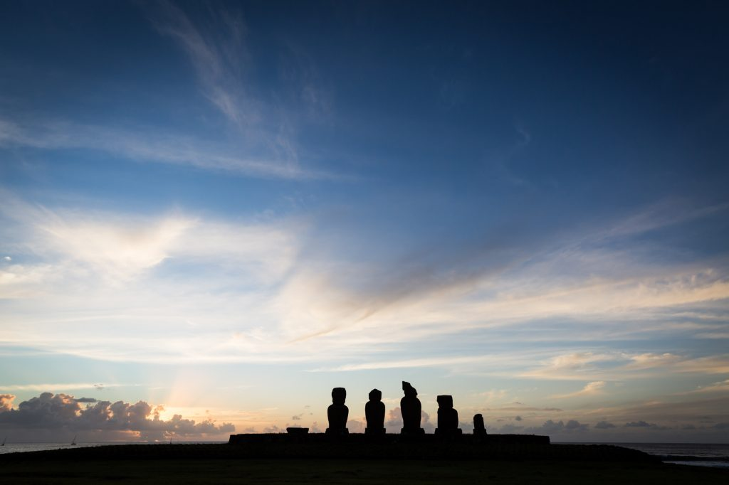 Sunset at Ahu Tahai for an Easter Island travel guide
