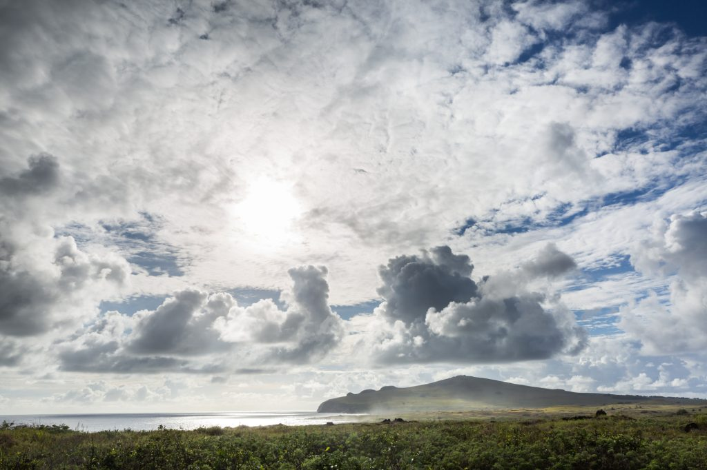 Shoreline and clouds for an Easter Island travel guide