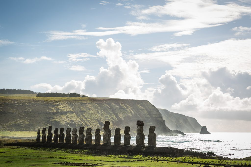 Moai statues at Ahu Tongariki for an Easter Island travel guide