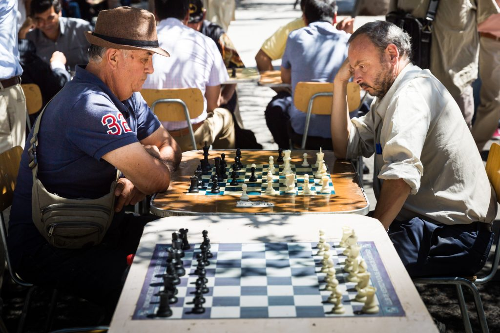 South America trip photo of men playing chess in Santiago