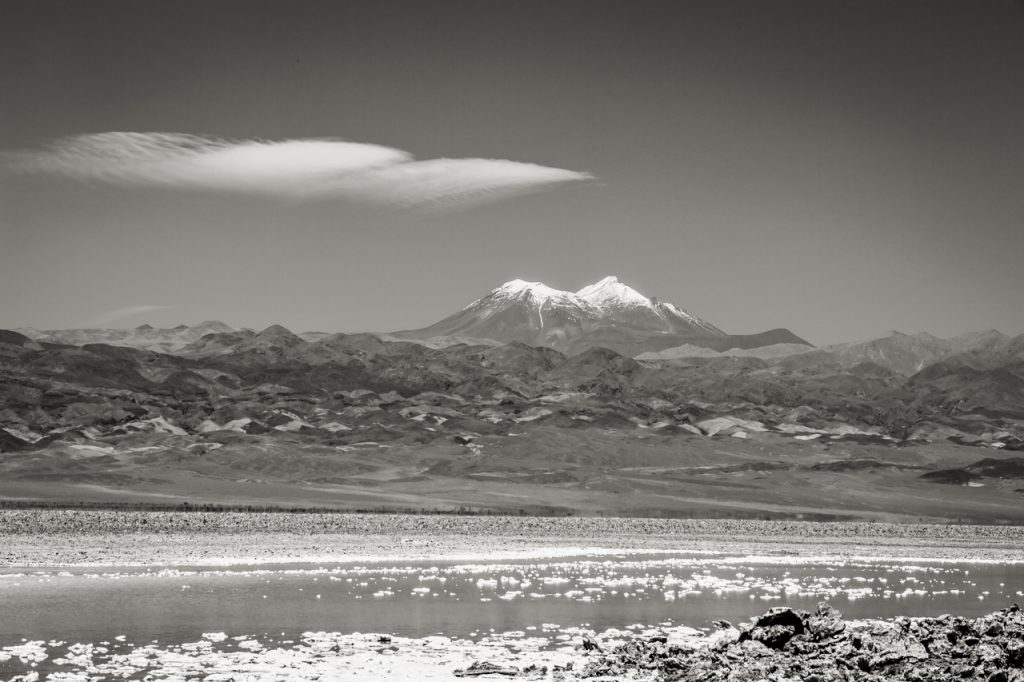 Mountain and Laguna Baltinache in black and white