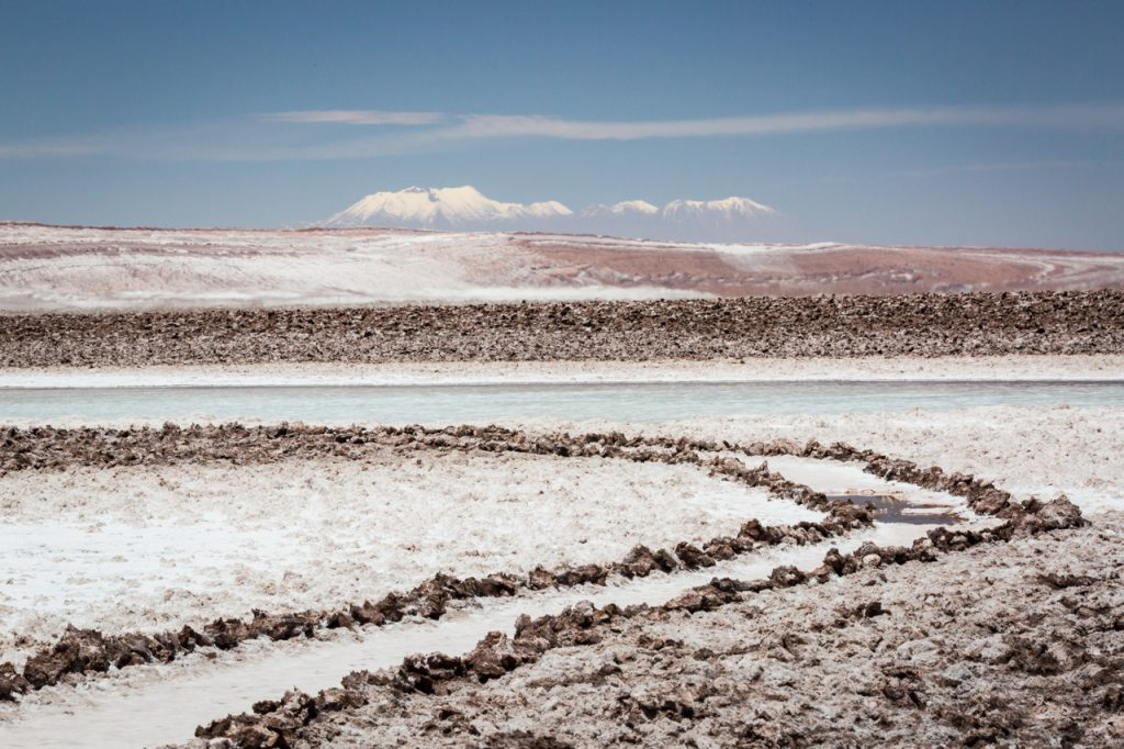 Color photo of Laguna Baltinache salt formations