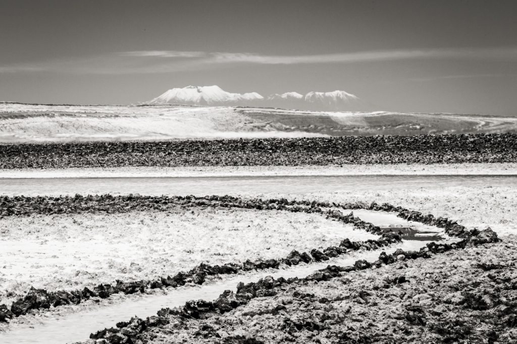 Black and white photo of salt formations at Laguna Baltinache