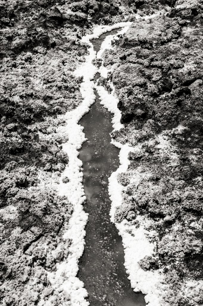 Line of salt formations Laguna Baltinache in black and white