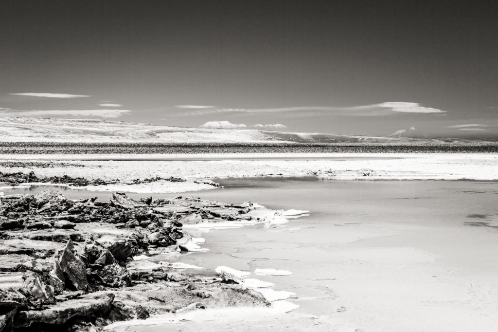 Wide vista of Laguna Baltinache in black and white