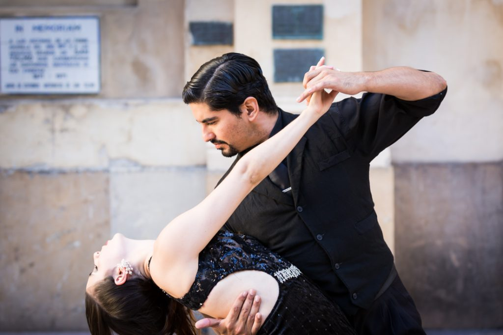 Couple dancing the tango on the streets of Buenos Aires