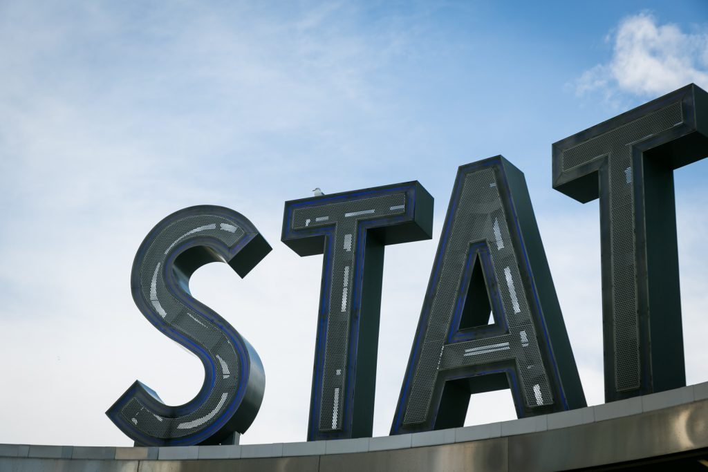 The Staten Island Ferry sign in Manhattan, by NYC photographer, Kelly Williams
