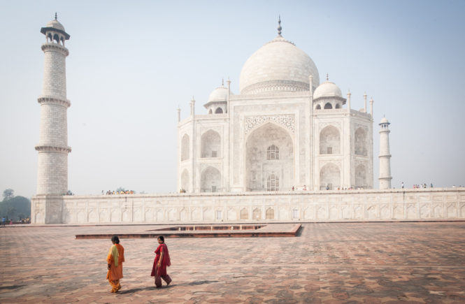 Tourists at the Taj Mahal in Agra, India