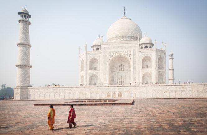 Tourists at the Taj Mahal in Agra, India