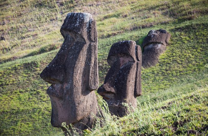 Moai statues at Rano Raraku for an Easter Island travel guide