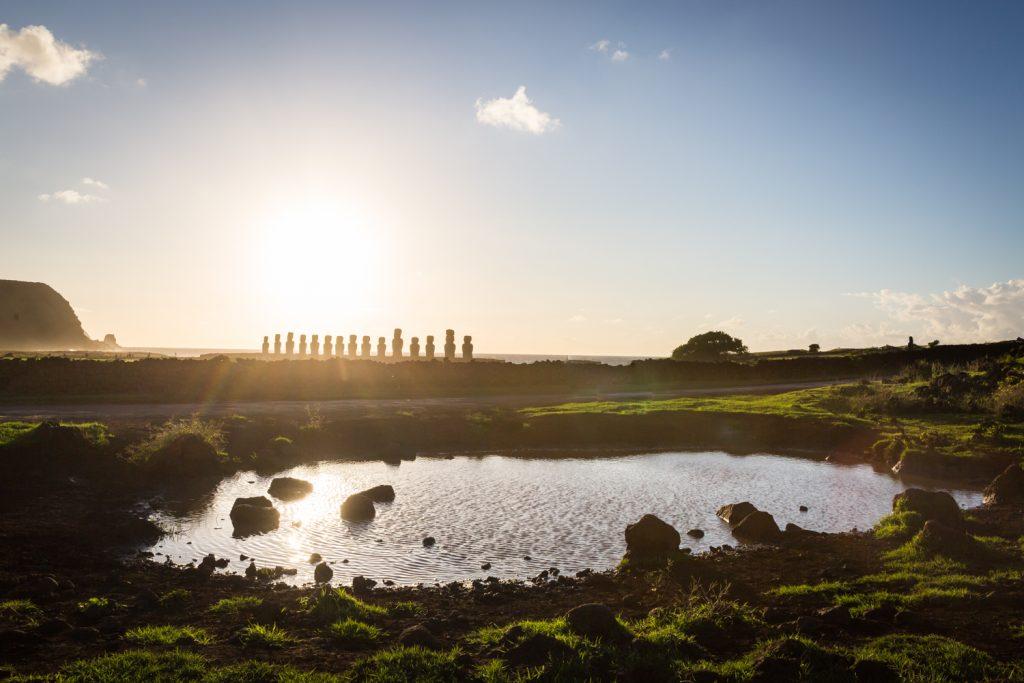 Sunrise over moai statues in Easter Island